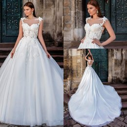 Barato Blusa De Manga Branca Vestidos Longos-Vintage White Ball Gown Vestidos de casamento de renda Sheer Cap Sleeves Jewel Neck Appliques Sexy Backless Long Bridal Gowns 2017 High Quality