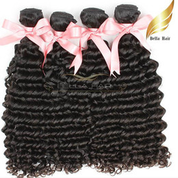 Discount cheap peruvian virgin natural wave hair - Peruvian Deep Wave Hair Extensions Cheap Virgin Human Hair Weaves Bundle 3pcs lot 8A Natural Color Bellahair Drop Shippi