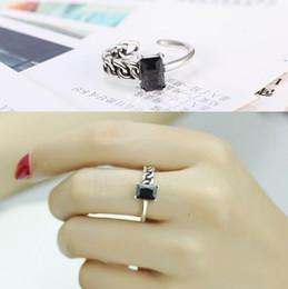 $enCountryForm.capitalKeyWord Australia - Vintage 925 silver plated chain side black agate zircon open rings fashion Anti-Silver finger ring for women Girl jewelry JZ091