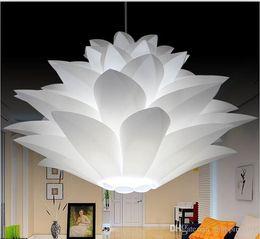 pendant base diy 2019 - DIY Lampshade IQ PP Pendant Lamp Lotus Chandelier Suspension Ceiling Pendant For Christmas Living Bedroom With E27 Bulb