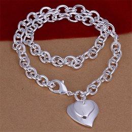 $enCountryForm.capitalKeyWord Canada - Hot sale Double Heart brand Crude necklace sterling silver plate necklace STSN252,wholesale fashion 925 silver Chains necklace