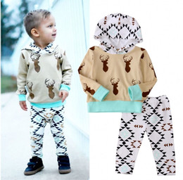$enCountryForm.capitalKeyWord NZ - hot selling baby suits korean style fashion Toddler kids Boys Holiday Clothes Deer Hooded Tops+Pants Home cotton Outfits top casual Set 0-2T