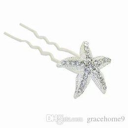 Discount starfish wedding hair - Bridal Wedding Hair Pins and Clips Rhinstone U Style Stick Women Hairpiece Starfish Hair Accessories Jewelry Prom Fashio