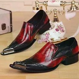 Burgundy Wedding Shoes Canada - Autumn and spring leather men's shoe Korea style slide mix Burgundy black metal toe Oxford man party wedding shoes classic