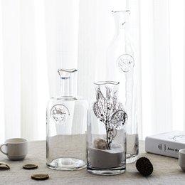 Ingrosso Semplice moda in stile mediterraneo americano vetro trasparente vaso vaso di vetro vaso di fiori è la cultura del soggiorno