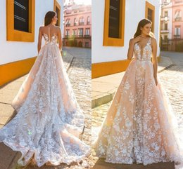 Illusion V Neck Wedding Dress Canada - 2017 New Luxury A Line Blush Pink Wedding Dresses V Neck Illusion Full Lace Appliques 3D Floral Backless Overskirts Cheap Bridal Gowns