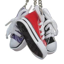 Metal Sneakers Canada - Mini 3D sneaker keychain canvas shoes key ring Tennis Shoe Chucks Keychain Favors #0455