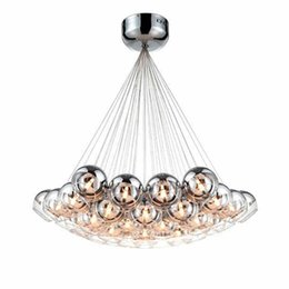 Chinese  Modern Chrome Glass Balls LED Pendant Chandelier Light For Living Dining Study Room Home Deco G4 Hanging Chandelier Lamp Fixture manufacturers