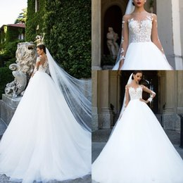 Cheap empire silver wedding dresses online shopping - 2018 Vintage Sheer Neck Lace Wedding Dresses A Line Long Illusion Sleeves Applique Floor Length Cheap Bridal Dresses Custom