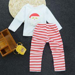 $enCountryForm.capitalKeyWord NZ - Baby Kids Christmas Clothes Santa Claus Costume Girl Boutique Clothes Set Kids Xmas Suit Cotton Shirt+Long Striped Pants Christmas Children