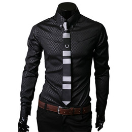 Mens diaMond shirts online shopping - Plus size XL Exclusive Long Sleeve Diamond Plaid Slim Fit Business Casual Classic Polyester Mens Dress Shirts Scrub Tops