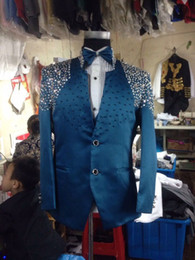 Mens Red Tuxedo Jacket Canada - Free ship 100% real photos handsewing bead luxury black red blue pink full rhinestone glitter mens tuxedo suit stage performance,only jacket
