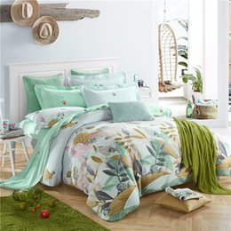 Solid Aqua Bedding Canada - hometextile bed sheet four pieces bedding set queen and king size 100%cotton fabric brushed with reactive printing good fastness 160005