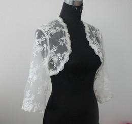 Orange Bolero UK - Lace Bridal Jacket Bolero 3 4 Long Sleeves Wedding Jacket Bolero Shrug White Ivory Custom Made Lace Jacket Bolero