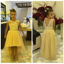 Barato Toddler Flor Girl Dresses Train-Amarelo do laço apliques alta floristas Low Vestidos Tulle Trem da varredura Formal Criança Wedding Party Girls Wear baratos