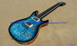 New Electric Guitar Brands Australia - New brand electric guitar see thru blue ,quilt flame body top.chrome parts! one piece body and neck