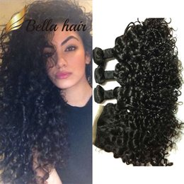 ocean wave hair NZ - 4pcs lot Brazilian Water Wave Lace Closure Ocean Wave Weaves Closure Virgin Human Hair Bundles with Closure Bella Hair