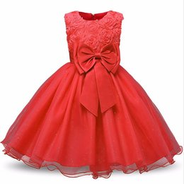 China Baby Girls Dress Party Lace Dress Kids 9 colors 3D Rose Flower Dresses Children Clothes Girls Wedding Party Princess Dresses A08 suppliers