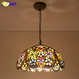Stained glass pendant lights online shopping stained glass fumat stained glass light european tiffany style flowers glass shade pendant lights living room kitchen lightings warm white pendant lights aloadofball Image collections