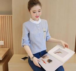 Cat S Collar Canada - 2017 Autumn Women's Stripe Cartoon Cat Tops Blouse Shirt Stand Collar Long Sleeve Blouses Shirts C3138