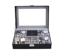 Glass Top Display Cases Canada - 8 Slot Wrist Clock Watches+Jewelry Ring Box Leather Display Case Organizer Top Glass Jewelry Storage Black,DHgate Recommend Best Shop Box