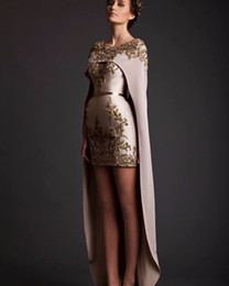 Robe De Soirée Designer Dubai Pas Cher-Arabie Saoudite Style Special Designer Robe de soirée Gold Appliqued Short Front Long Back Dubai Arab Robe de bal Vestidos