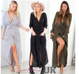 Robe De Femme À Découper Pas Cher-Hot Sales New Women Dress long UK WOMENS SPLIT MAXI ROBE LONGUE SHIRT SOIRÉE WRAP DRESS TAILLE 8-16