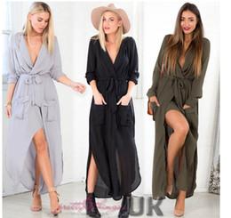 $enCountryForm.capitalKeyWord Canada - Hot Sales New Women Long Dress UK WOMENS SPLIT MAXI LONG DRESS SHIRT EVENING PARTY WRAP DRESS SIZE 8-16