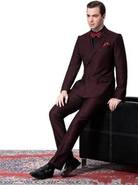 $enCountryForm.capitalKeyWord Canada - Side Vent Double-Breasted Burgundy Groom Tuxedos Peak Lapel Groomsmen Mens Wedding Suits Clothing Prom Suits (Jacket+Pants+Tie)