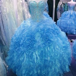 Robe Sweetheart Sweet Sweet Sweetheart Pas Cher-2016 Robes New Image réelle Princesse Quinceanera perles de cristal sweetheart Ruffles Organza Violet Vert Bleu 16 Sweet Girls Prom Party