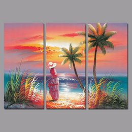 $enCountryForm.capitalKeyWord Canada - Colorful seascape Seagull Hawaii decoration Coconut tree sexy lady wall art picture poster Canvas Painting living room unframed