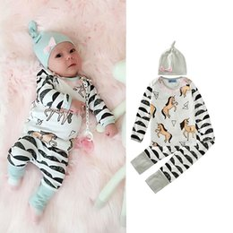 infant winter suits NZ - Kids Clothing Sets Horses Print Winter Autumn Spring Casual Suits Shirts Pants Hat Infant Outfits Kids Tops & Shorts 0-24M
