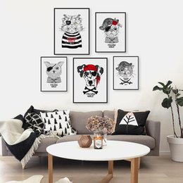 $enCountryForm.capitalKeyWord NZ - Vintage Retro Pirate Anmial Cat Dog Pet A4 Art Prints Poster Hippie Wall Pictures Canvas Painting No Framed Kids Room Home Decor