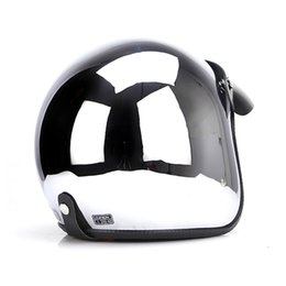 $enCountryForm.capitalKeyWord Canada - TKOSM CHROME MIRROR Silver Chrome Mirror Helmets Vintage scooter Motorcycle Open face Helmet retro Jet DOT