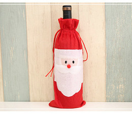 Christmas Tables Canada - DHL 6lot Hot sale Christmas gift bag Merry Xmas Santa Claus Wine Bottle Cover Christmas Dinner Party Table Decor Red free shipping