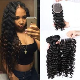 Discount cambodian virgin hair deep waves - Cambodian Human Hair Bundles with Closure Natural Color Free Part Lace Closure with 3 Bundles Deep Wave Virgin Hair G-EA