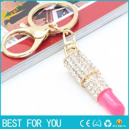 Gold Pink Rings For Women Australia - Lipstick Rhinestone Crystal Key ring Charm Pink Pendant Car Gold Key Chain For Woman Gift