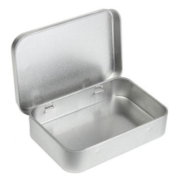 tin boxes for storage NZ - Wholesale Survival Kit Tin Higen Lid Small Empty Silver Flip Metal Storage Box Case Organizer For Money Coin Candy Keys H210571