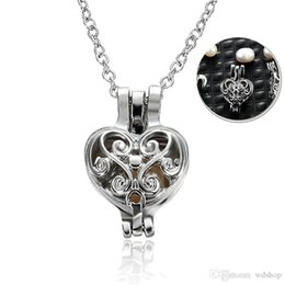 $enCountryForm.capitalKeyWord NZ - Silver Wish Love Pearl Cage Pendant Heart Cage Pendant Mounting For DIY Locket Necklace Lock In Oyster Pearl