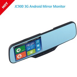 mirror security camera Canada - JC900 1080P 3G Android Mirror Dual Camera Strap Version with WCDMA Tri-Band for Worldwide Google Map & HD Rear camera Optional