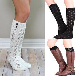 3dd499599 knee high long socks leg warmer hollow boot cuffs boot socks for women  ladies cotton crochet socks boot socks free shipping