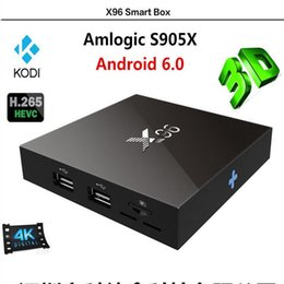 Quad Core Android 4.4 Smart Tv Canada - X96 Smart TV BOX 1GB+8GB S950X 4 Quad Core Android 6.0 3D TV Box amlogic Pre-installed H.265 4K HD Player EU UK US AU plug Android TV BOX
