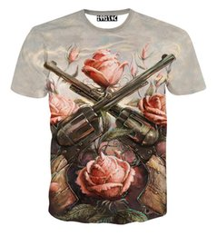 Fashion Tees Canada - 2018 fashion women men short sleeve 3d t shirt funny print Rose flower 2 Gun T-shirt summer novelty tee shirts clothes camisetas