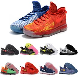 With Box KD 9 Men White Basketball Shoes Homme Red Tennis BHM Kevin Durant  Kds Elite Floral Aunt Pearls Easter Men Sneaker cheap kd shoes black pink  floral