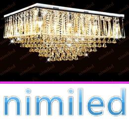 rectangular pendant chandeliers 2019 - nimi840 L70cm 80cm Clear Cognac Crystal Light Rectangular Living Room Lights Luxury Lobby Chandelier Lamp Bedroom Ceilin