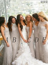DiscounteD beaDs online shopping - Sheath Halter Cheap long Bridesmaid Dresses Elegant Sexy Discount Sequin Beading African Style Evening Prom Dresses