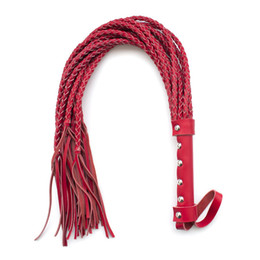 $enCountryForm.capitalKeyWord Canada - Genuine Leather Bondage Luxury Handmade Black And Red Flogger Teasing Braided Whip Spanking Bondage Fantasy Fetish Restraints
