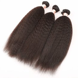 ItalIan haIr weave online shopping - Brazilian Human Hair Kinky Straight Hair Weave Bundles Top Coarse Yaki Cheap Italian Yaki Human Hair Extensions INCH G EASY