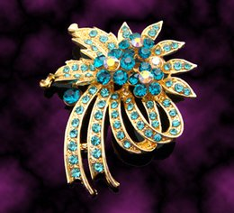 Red Indian Costumes Australia - Wholesale Women Gold plated Zinc alloy crystal rhinestone flower Brooches costume jewelry Free shipping 12pcs lot mixed color BH590