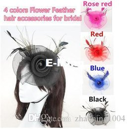 Fascinateurs De Mariée Rose Pas Cher-New Roses Flower And Feather Head Robe de mariée Fascinator mariage Head Pièces Chapeaux Accessoires de cheveux pour demoiselle d'honneur Noir Bleu Rouge Rose Couleur
